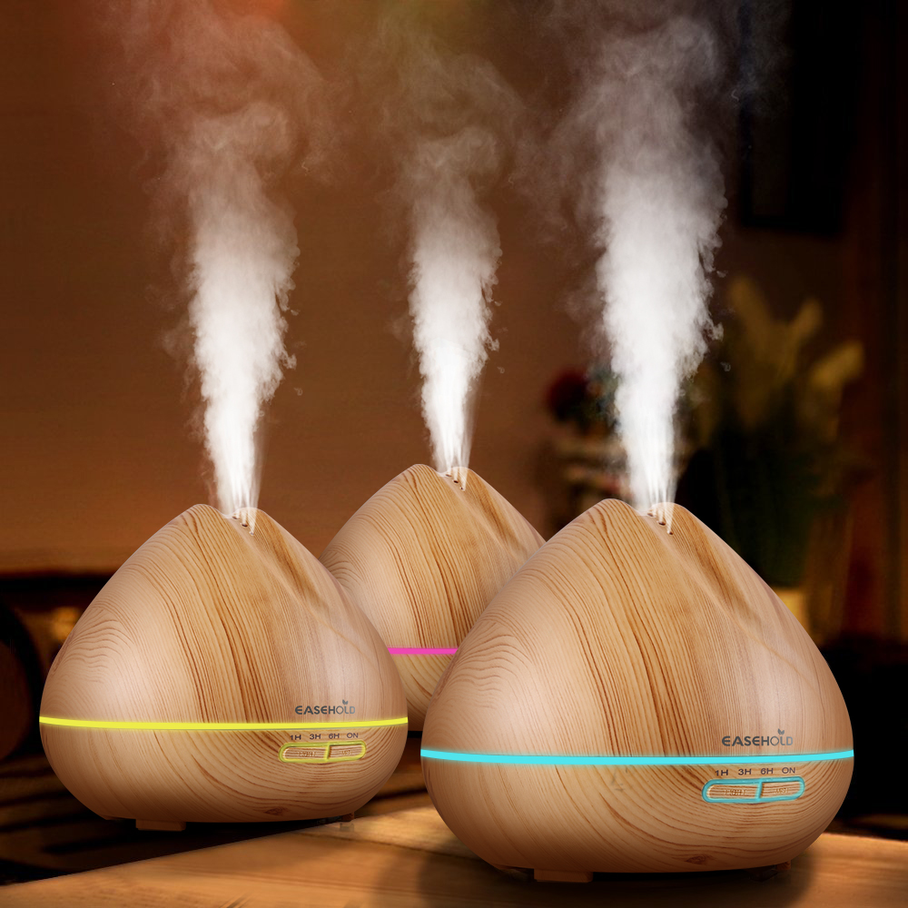 EASEHOLD Clearance 400ml Cool Mist Humidifier Ultrasonic Aromatherapy Essential Oil Air Diffuser Electric Wood Grain 7 Colors EASEHOLD Clearance 400ml Cool Mist Humidifier Ultrasonic Aromatherapy Essential Oil Air Diffuser Electric Wood Grain 7 Colors