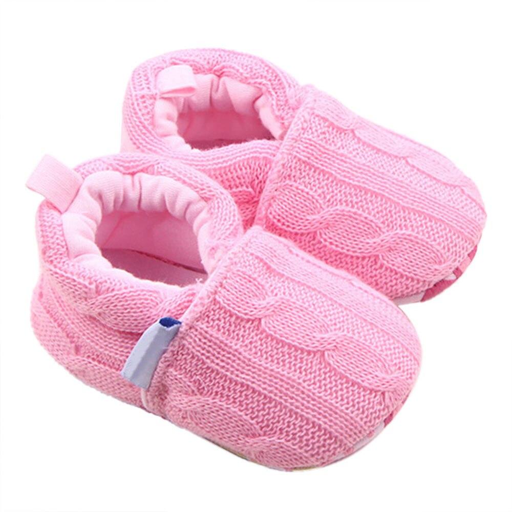 Winter Warm Fashion Baby Shoes Wool knit Sneaker Anti-slip Soft Sole Toddler Girl Boy Crochet Knit Fleece Shoes #zk