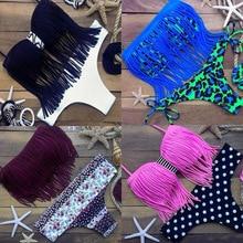Tassel Sexy Floral Brasileño Bikini Halter Set 2016 Venta Caliente Cadena Traje de Baño Triángulo Traje de Baño Femenino Push Up Women Swimsuit