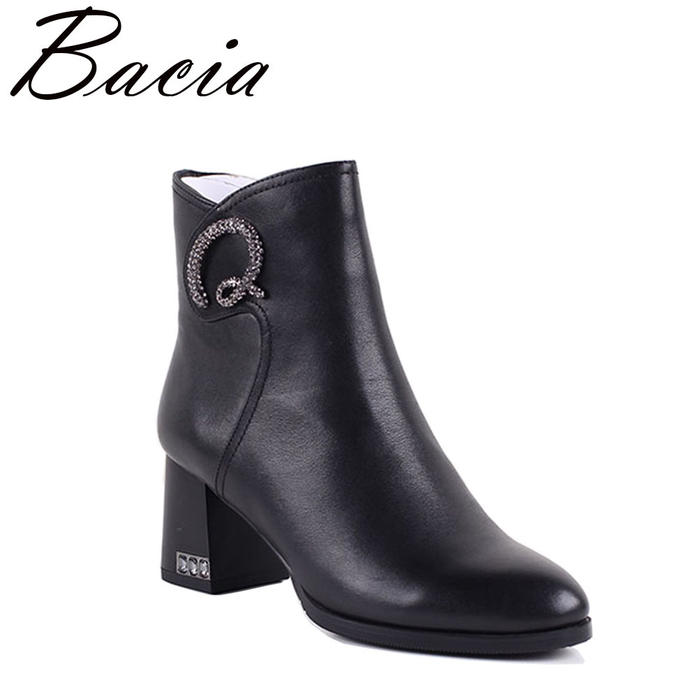 Bacia 2017 Genuine Leather Boots Thich Heel Ankle Length Boots Crystal Women Autumn Shoes Natual Leather Boots Size 36-40 MC006