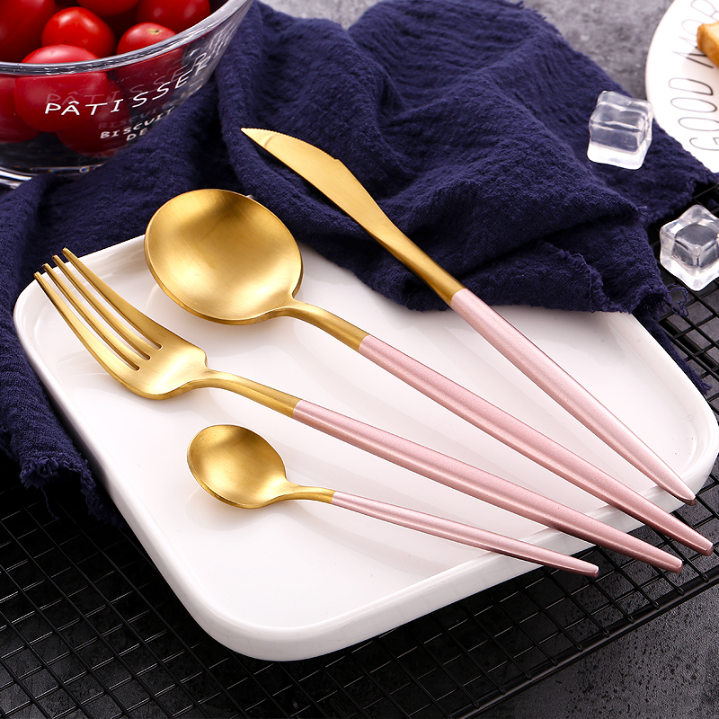 24pcs KuBac Hommi New Top Quality Stainless Steel Steak Knife Fork Party Dinnerware Set Gold Pink