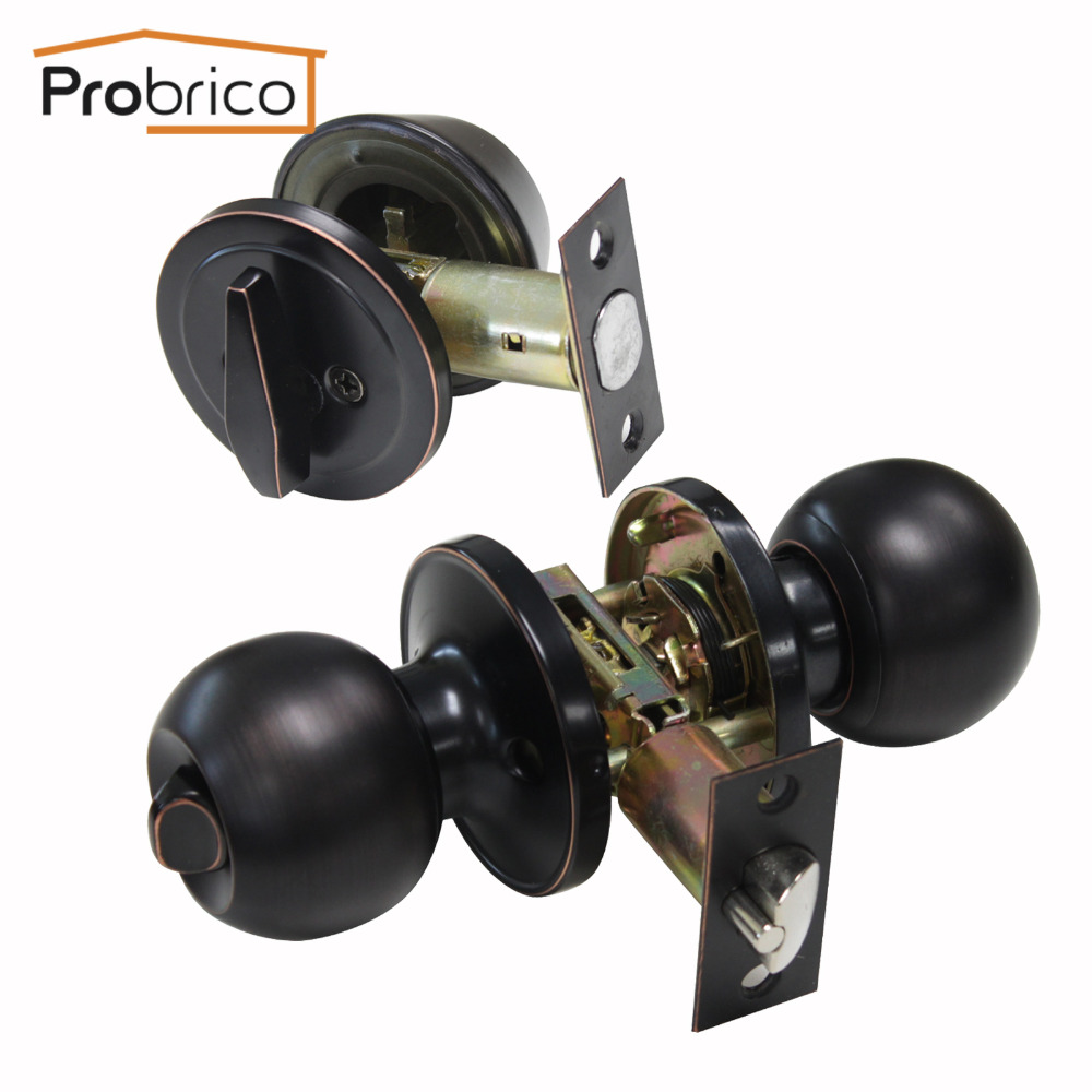 Probrico Keyed Exterior Door Lock Knobs Oil Rubbed Bronze Anti theft Gate Locks Contemporary American Style