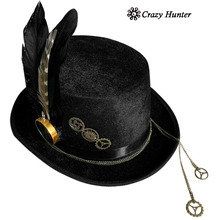 Engranajes compás Punk Goth Victorian Steampunk negro sombrero Cosplay  Custume sombreros(China) 4446d2daf8e
