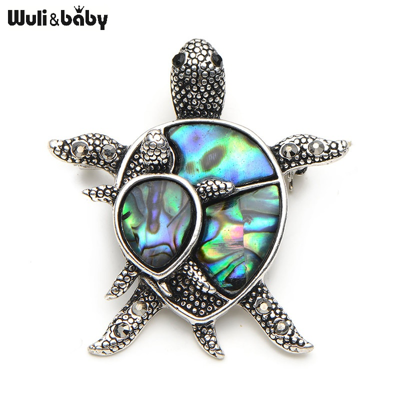 Natural Shell Turtle Brooches For Women And Men Alloy Couple Turtle Animal Brooch Pins For Suits Sweater Dress Hat Scarf Pins