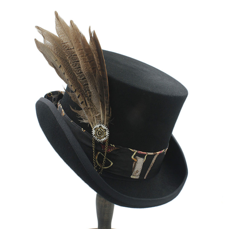 1a8d546cab US $37.86 40% OFF 15CM Top Hat Women Men Steampunk Top Hat With Handmade  Leather Wool Fedoras Hat / Cylinder Hat/ Chimne-in Fedoras from Apparel ...