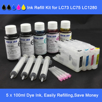 XIMO 4 Refillable Refill Ink Cartridges plus Refill Dye Ink for Brother LC 1220 LC 1240 LC 1280 etc.