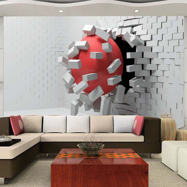Large Custom Mural Wallpaper Modern Abstract 3D Stereoscopic Football Wall  Painting Living Room Bedroom Study Wallpaper
