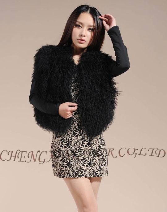 CX-G-B-51C настоящий монгольский овечка меховой жилет женский сексуальный короткий жилет зимнее пальто Меховая куртка - Цвет: Black