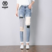 2017 Women Korean Cartoon Personality Hole Loose Denim Trousers Ladies Elastic wais Straight Denim Pants Female Character Print