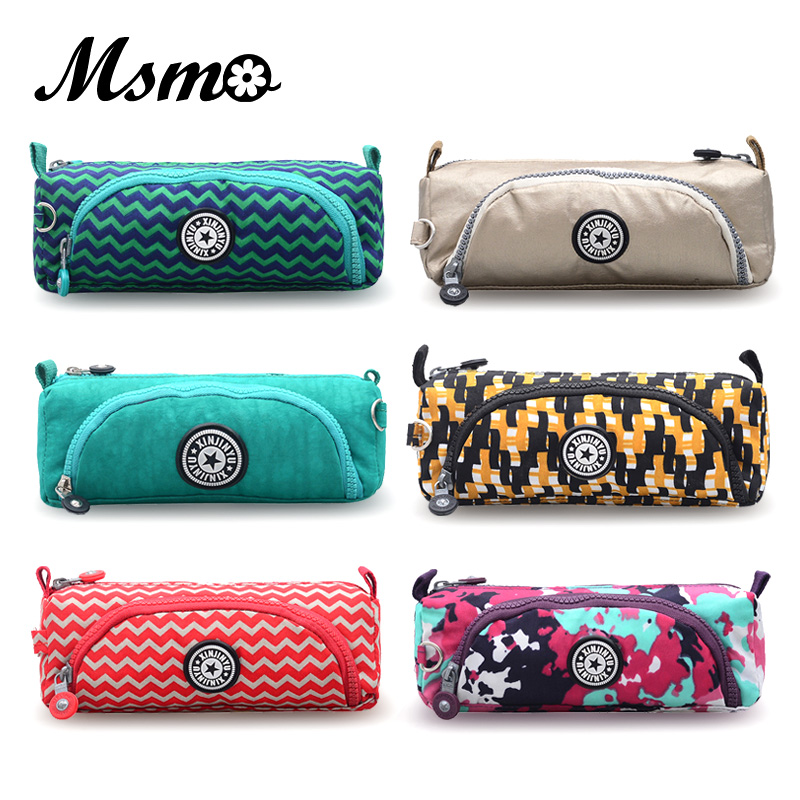 Cute Pencil Pen Case Lady Cosmetic Makeup Coin Pouch Zipper Wallet Kids Child School Monkey Pencil Bag Two Pockets 20 Colors handmade vintage leather zipper pen pencil pouch wallet glasses toolkit toiletry cosmetic makeup bag case 9115fs