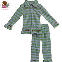 Light Green Stripe Boy Top And Pant Suit Fall Boutique Kids Outfits Newborn Baby Cotton Pajamas