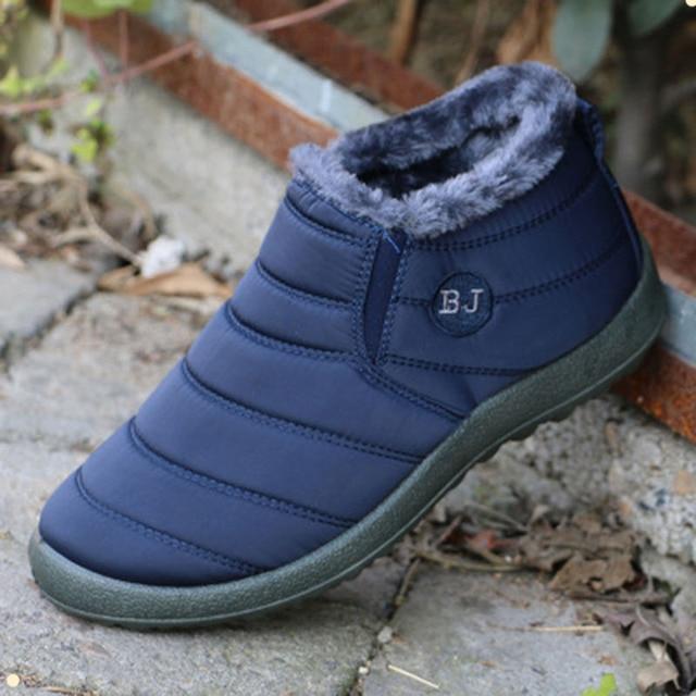 New Thời Trang Nam Mùa Đông Giày Tuyết Màu Rắn Khởi Động cho Người Đàn Ông Giày Bông Bên Trong Đáy Chống Trượt Siêu Ấm Trượt Tuyết Không Thấm Nước khởi động