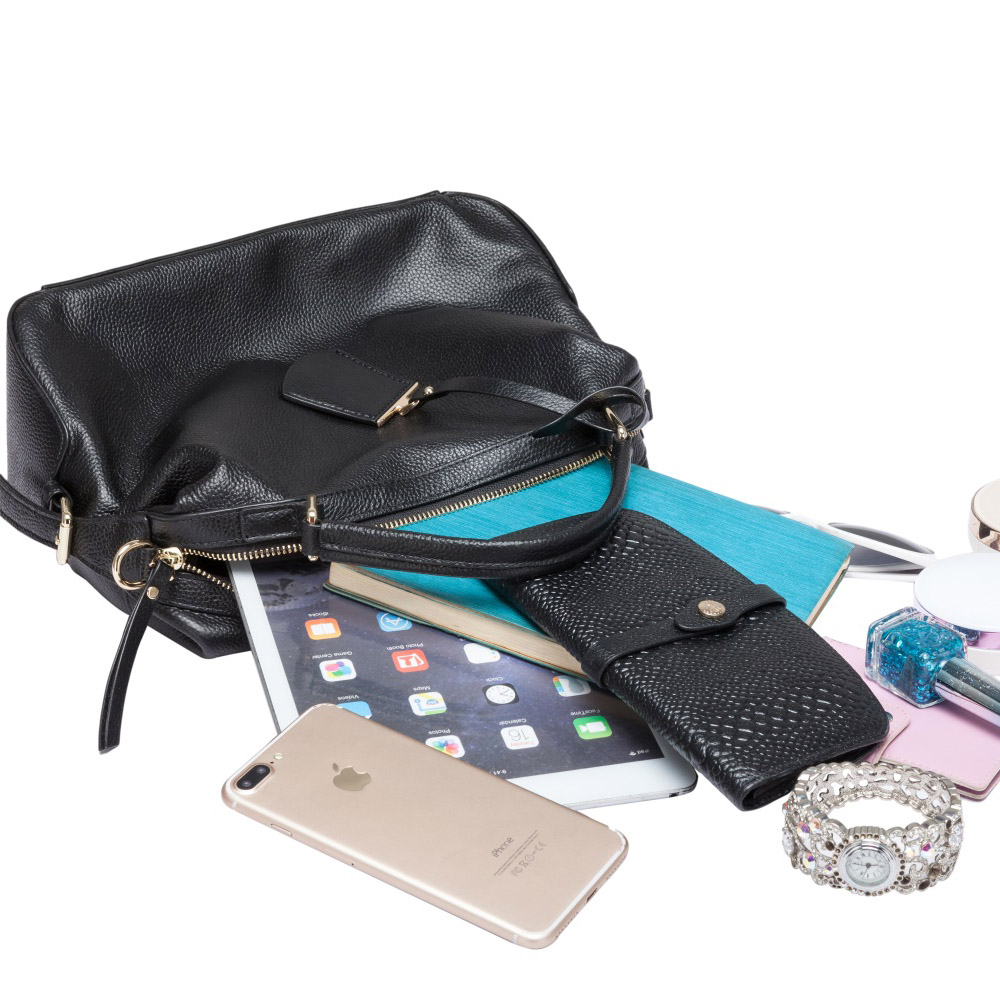 Zency Fashion Women Tote Bag 100% Genuine Leather Handbags Female Boston Charm Messenger Crossbody Purse Luxury Shoulder Bags