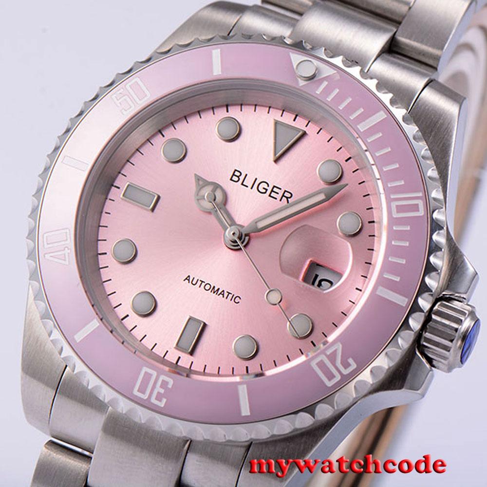 лучшая цена 40mm Bliger brown dial ceramic bezel date automatic movement mens unsex watch 47