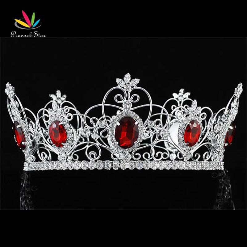 Здесь продается  Peacock Star Free Shipping Wholesale Pageant Prom Accessories Full Circle Tiara Red Crystal King / Queen Crown CT1722  Ювелирные изделия и часы