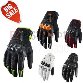 Hot Sale Top Leather Bomber Carbon Fiber Motorcycle Mens Gloves / Off Road Motorbike Bicycle Cycling Gloves 5 Colors size M-XL