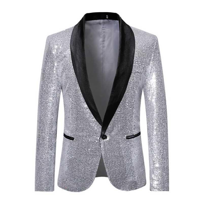 MJARTORIA brillante lentejuelas de oro Bling Glitter Blazer hombres 2019 nuevo chal Collar de DJ de Club para hombre chaqueta etapa la ropa para los cantantes