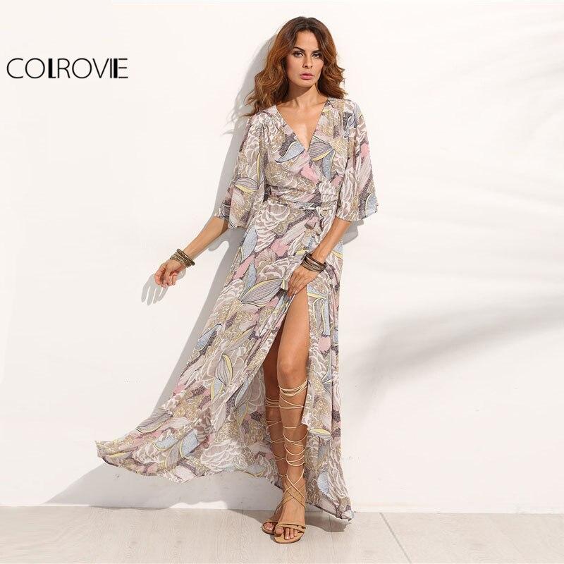 COLROVIE Floral Print Maxi Chiffon Dress Women V Neck Half Sleeve Wrap A Line Beach Sexy Dress 2018 Summer Beach Boho Long Dress wrap maxi boho dress