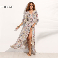COLROVIE Floral Print Maxi Chiffon Dress Women V Neck Half Sleeve Wrap A Line Beach Sexy