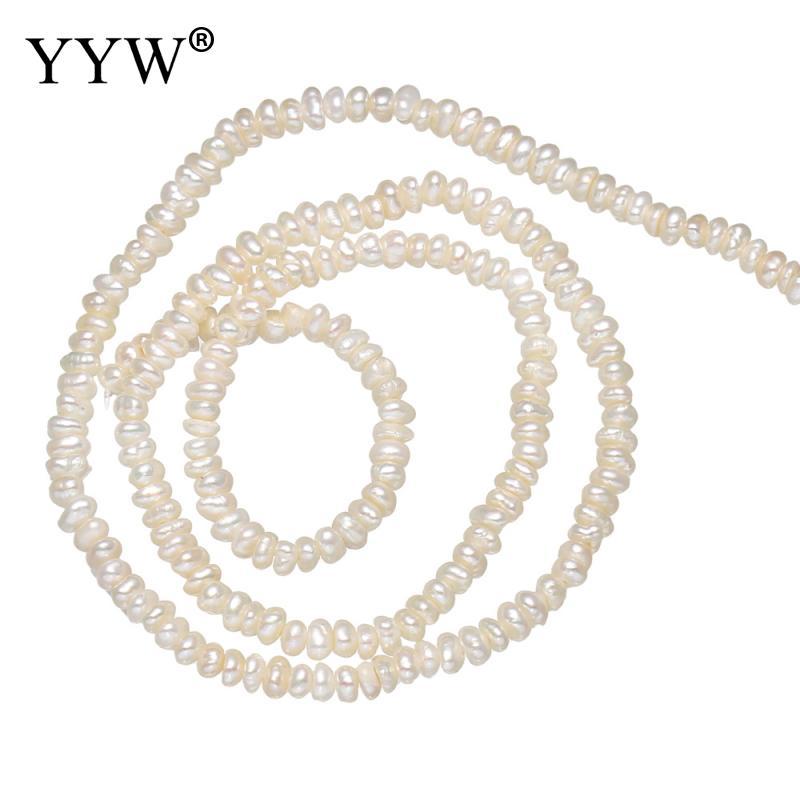 YYW – perles de culture de pommes de terre deau douce, de haute qualité, blanches naturelles, 2-3mm, environ 0.8mm, vendues par brin, 13.5 pouces