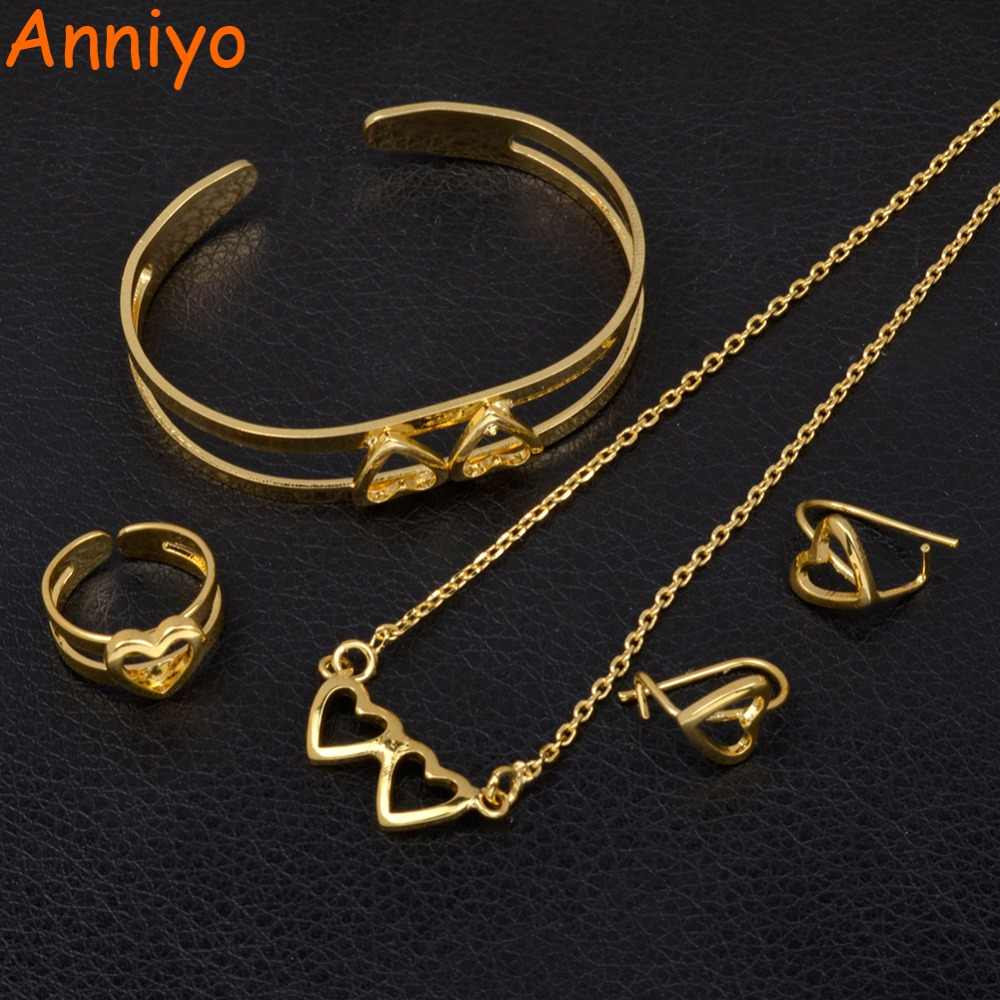 Anniyo Heart Child Jewelry sets Gold Color Necklace/Earrings/Ring/Bangle for Kids Ethiopian African & the Arabs Gift #062702