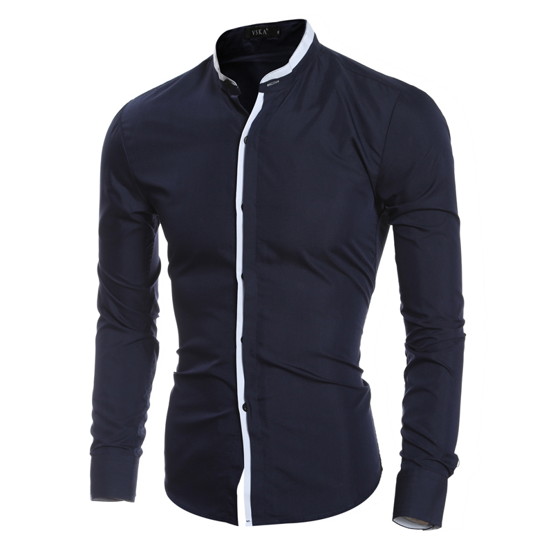 New Fashion Contrast Color Collar Men Shirt Long Sleeve