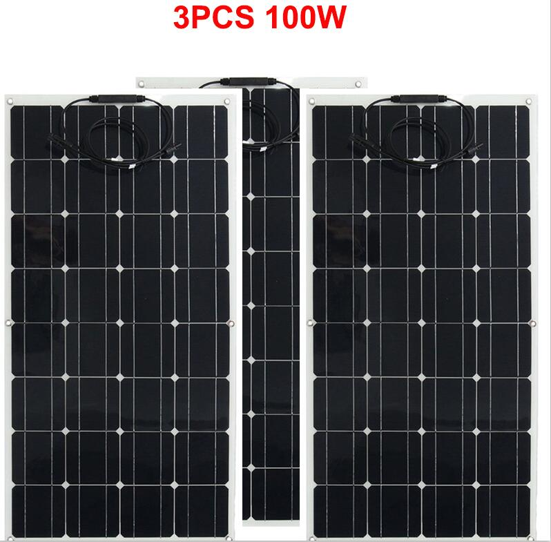 solar panel 300w home solar system photovoltaic 100w 3pcs flexible solar panel kit panel solar 300w power system for 12V battery-in Solar Energy Systems from Consumer Electronics    2