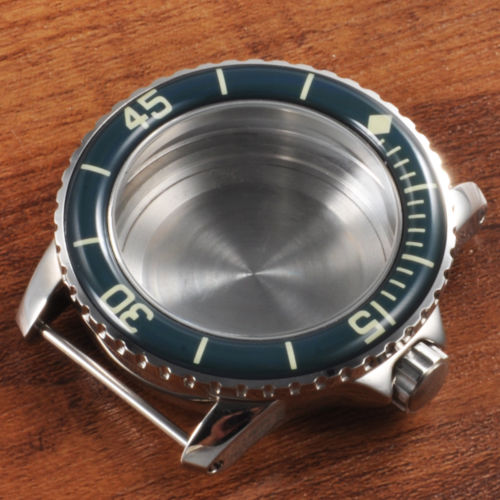 45mm Blue Bezel Polished Silver Watch Case stainless steel case hardened Fit Miyota 8205 8215 821A eta 2836 movement