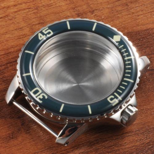 45mm Blue Bezel Polished Silver Watch Case stainless steel case hardened Fit Miyota 8205 8215 821A eta 2836 movement 42mm pvd coated case black aluminum alloy bezel watch case fit eta 2824 2836 dg2813 3804 miota 8215 8205 821a movement c18