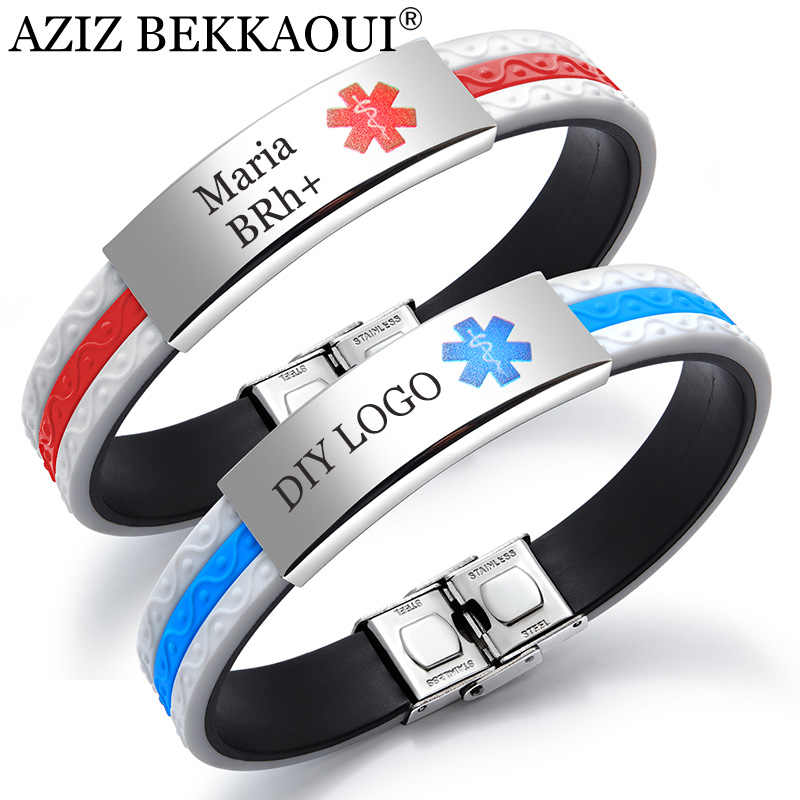 AZIZ BEKKAOUI Engrave Medical Alert ID Strap Silicone Bracelets for Men Women Customized Emergency Jewelry Name Bracelet Bangle