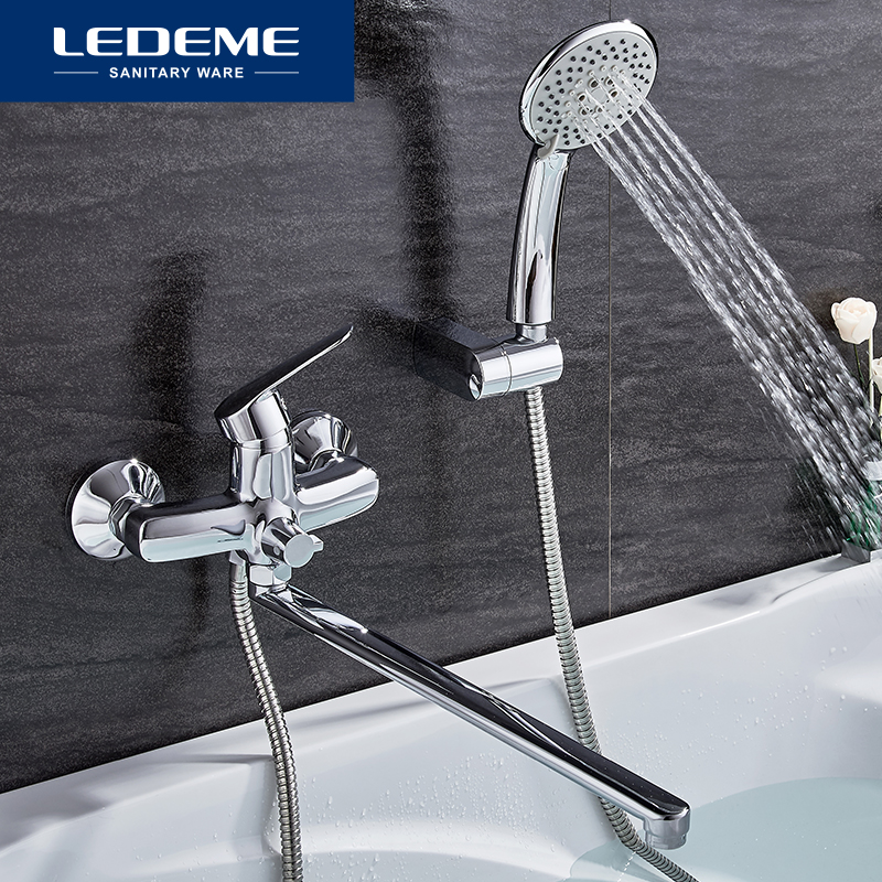 LEDEME 1 Set Bathtub Faucets Chrome Brass Cold And Hot Water Mixer Chrome Finished Tap Shower Bathtub Faucet Single Handle L2251