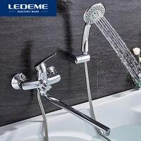 Ledeme 1 conjunto banheira torneiras latão cromado misturador de água fria e quente chrome terminado torneira do chuveiro da banheira único punho l2251