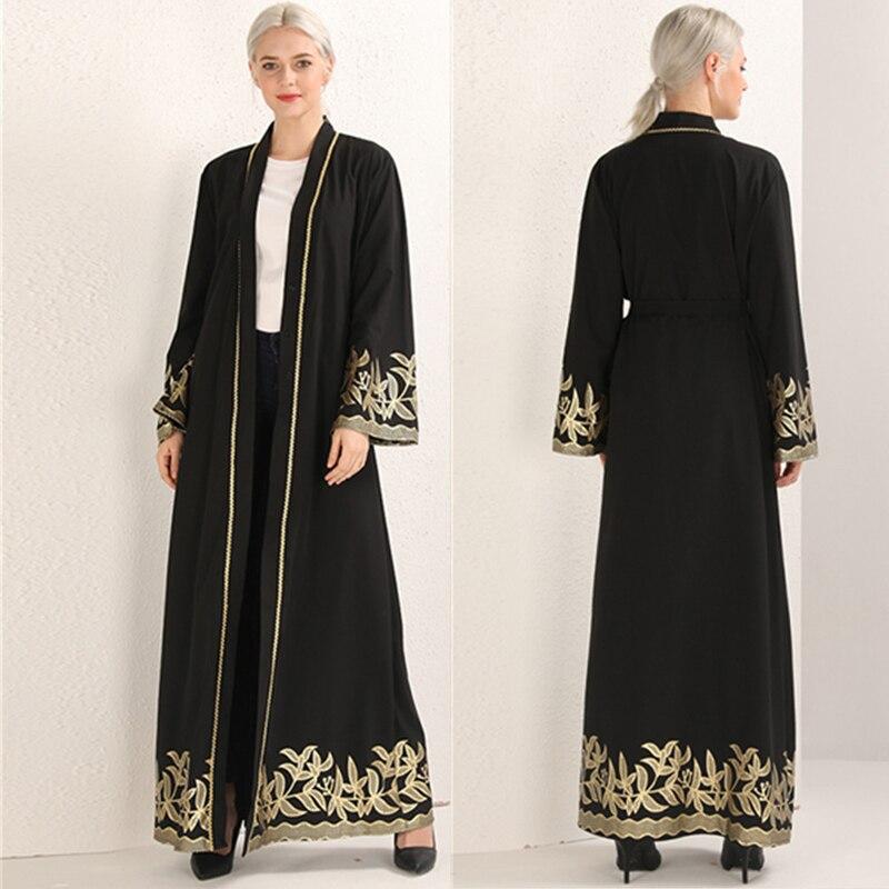 Black Open Abaya Dubai Robe Kaftan Turkey Hijab Muslim Dress Caftan Abayas For Women Islamic Clothing Eid Ramadan Elbise Giyim