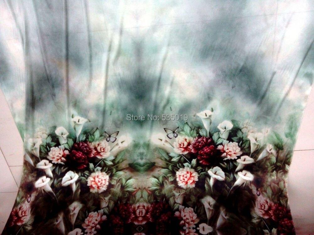 Модные женские супер высокого класса компьютер цифровые принты тяжелый эластичный натуральный шелк ткань зеленые цветы тканые оптом широкие