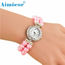 2016 Women Girl Students Beautiful Fashion Brand New Golden Pearl Quartz Bracelet Watch  Z504 5Down