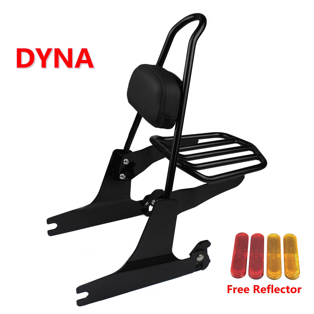 Motorcycle Passenger Sissy Bar Backrest Cushion Pad w Removeable Luggage Rack For Harley Dyna FXDF FXDWG
