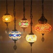 WOERFU فسيفساء قلادة أضواء التركية الرجعية الإضاءة E27 بار مطعم واضح بار البحر الأبيض المتوسط قلادة ضوء
