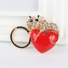 Red Heart Cat Pendant Charm Rhinestone Crystal Purse Bag Keyring Key Chain Accessories Wedding Party Lover Friend Gift