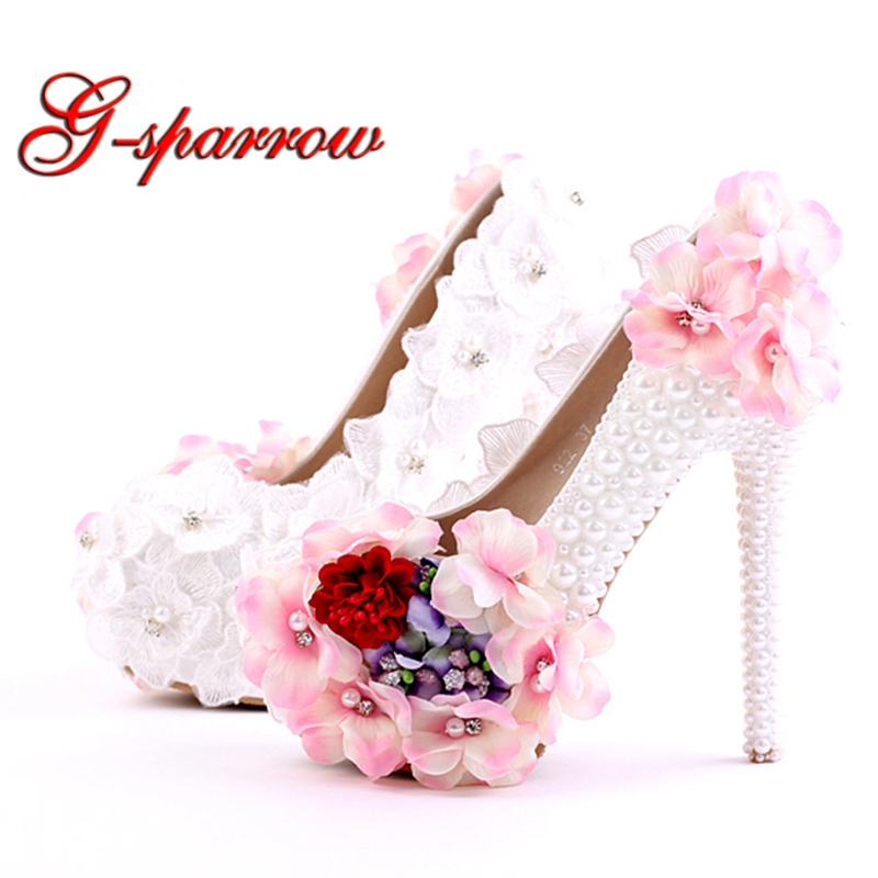 2018 Beautiful Lace Pink Flower Bridal Wedding Shoes White Imitation Pearl Party Prom High-Heel Nightclub Stiletto Banquet fashion white lady peep toe shoes for wedding graduation party prom shoes elegant high heel lace flower bridal wedding shoes