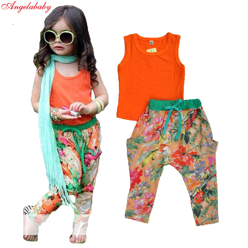 2017 girls summer clothing sets kids girls floral skirt+t shirt clothing sets children short-sleeved clothing sets