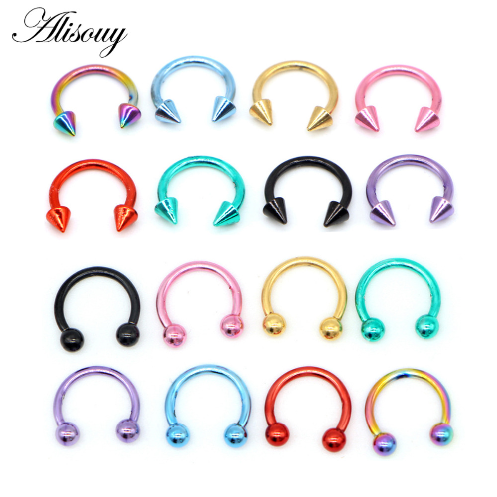 Alisouy 1PCS Stainless Steel Nostril Nose Ring Circular Piercing Ball Horseshoe Rings Sharp Round Shape Ring Earring
