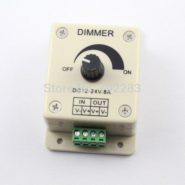 High quality 1pcs 12V-24V DC 8A 96W Knob LED Dimmer Controller for Single Color Flexible Rigid LED Strip Light