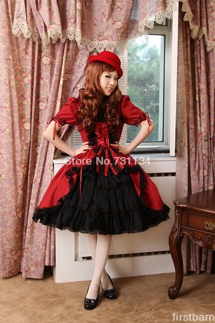 5f5f49716f4 Elegante en stijlvolle korte mouwen rode gothic lolita dress leuke prinses  meisje casual lolita kleding aangepaste