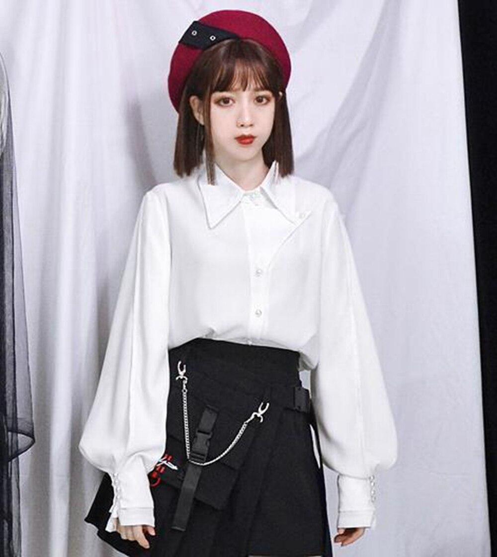 Printemps Auturm Lolita Tops Noir Dames Blouse Perle Boutons Élégante Blanc blanc Femme SqxTIw4at