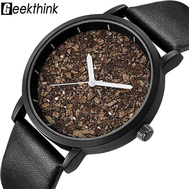 Geekthink piedra de grava Natural cara moda hombres marca relojes de cuarzo  mujeres de madera señoras 3a5effc0920f