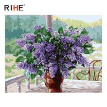 RIHE Lavender Diy Painting By Numbers Flower Vase Oil Cuadros Decoracion Acrylic Paint On Canvas Modern Wall Art 2018