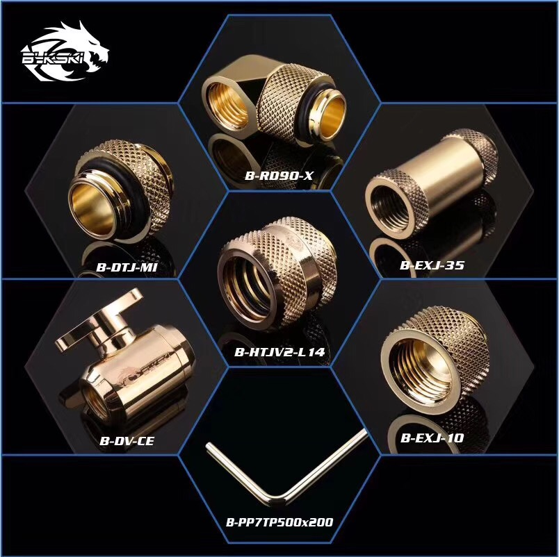 BYKSKI Gold Version G1/4 Plug / Hose Fitting / OD14mm Hard Tube Fitting / Filter / Thermometer / Rotary Fitting / Water Switch