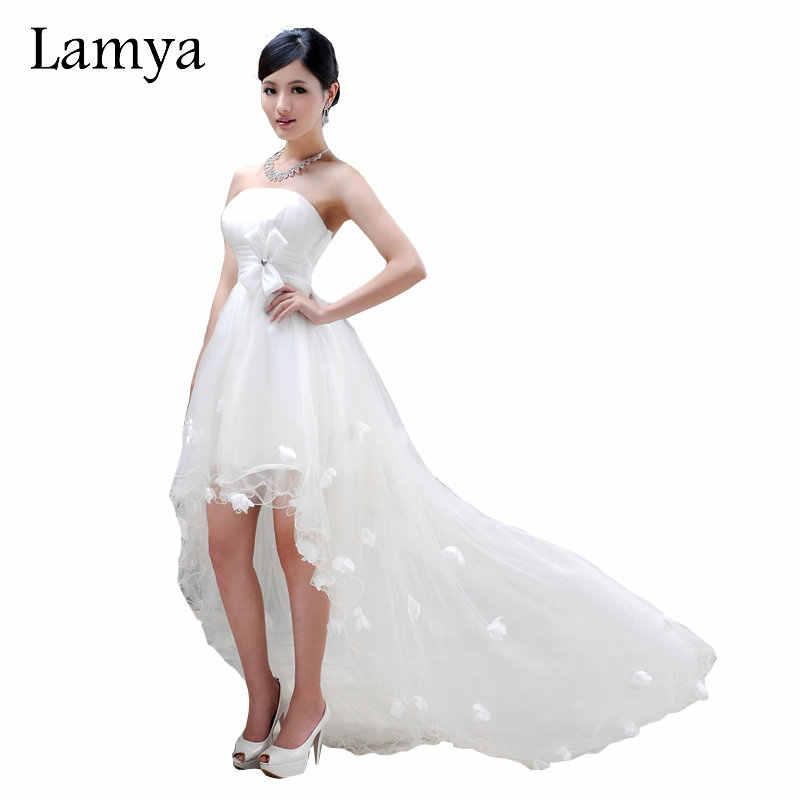 Lamya סקסי קדמי קצר ארוך חזרה שמלות הכלה נדל תמונות סטרפלס מתוקה טול Vestidos דה Novia Boho חוף כלה שמלה