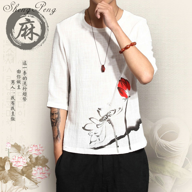 Traditional Mens Clothing Chinese Oriental Button Linen White Shirts Solid Color Three-quarter Sleeves Linen Clothing CC218