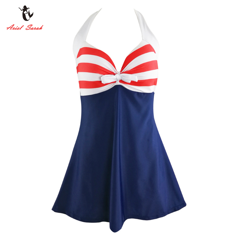 Ariel Sarah Striped One Piece Swimsuit 2017 Large Size Swimwear Halter Plus Size Swimsuit Women Bathing Suit Sexy Monokini Q241 2017 women sexy halter one piece swimsuit sports large size bathing suit monokini swimwear girl kyl1741 free shipping